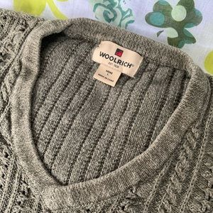 WOOLRICH Rustic Olive Cable V Neck Sweater